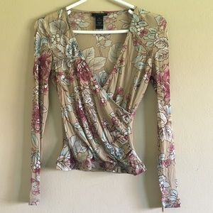 The limited pink floral sheer V wrap long sleeve